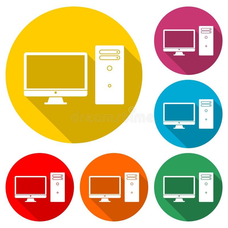 Icono del equipo de escritorio, icono del color con la sombra larga libre illustration