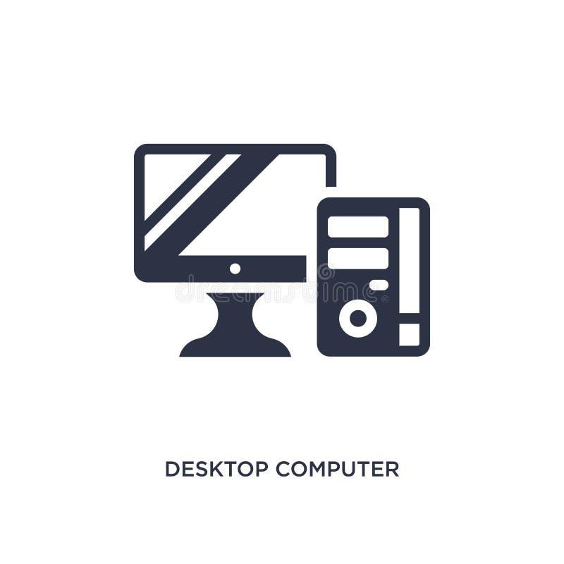 Icono del equipo de escritorio en el fondo blanco Ejemplo simple del elemento del concepto de la educación stock de ilustración