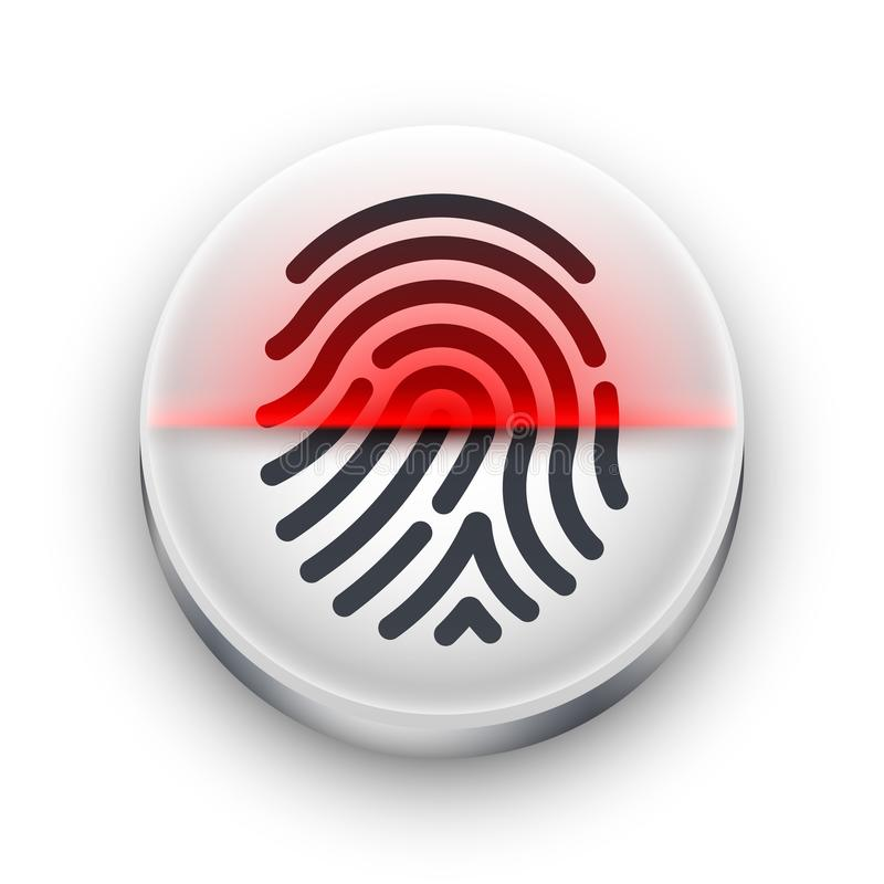 Icono del escáner de la huella dactilar Botón redondo blanco con una forma negra de la huella dactilar y un haz rojo de la explor stock de ilustración