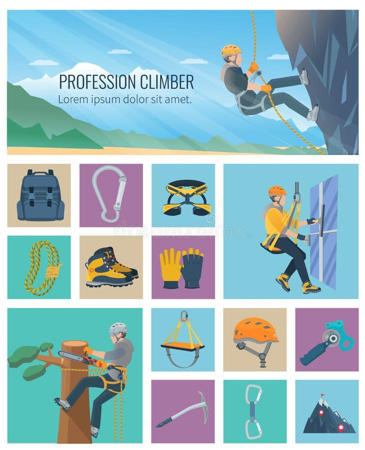 Icono del escalador plano ilustración del vector