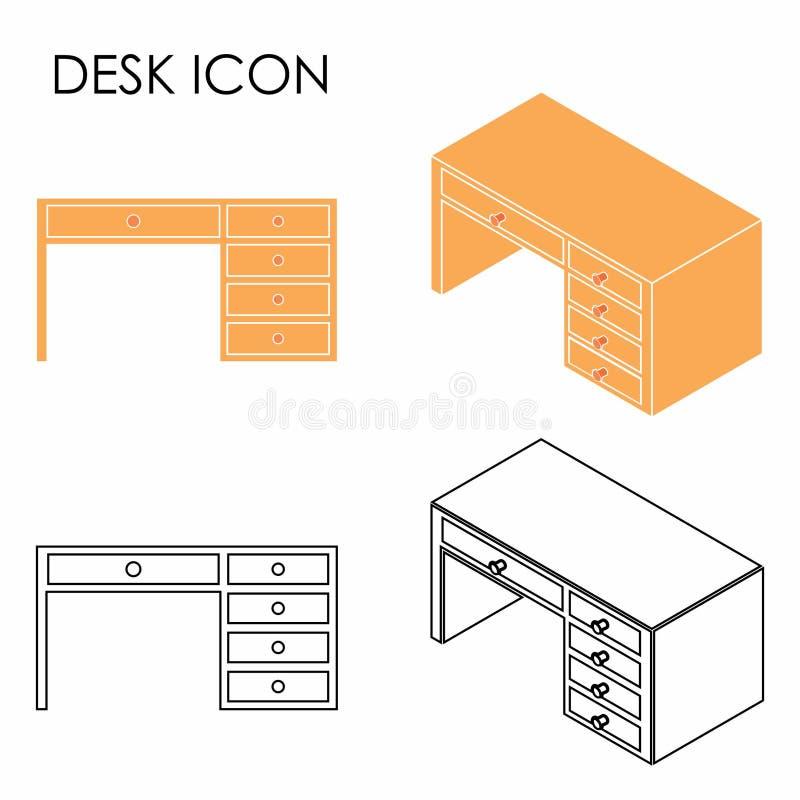 Icono del escritorio coloreado con y sin esquema stock de ilustración