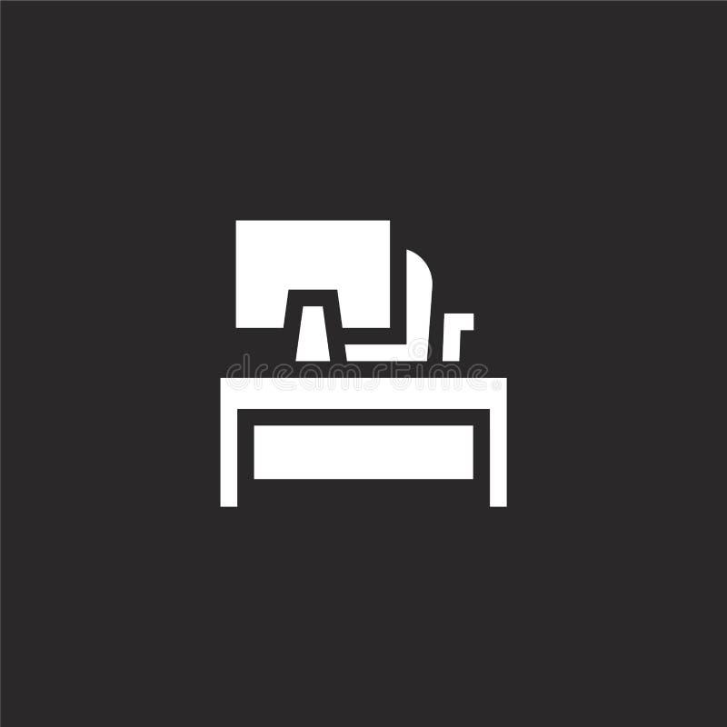 Icono del escritorio Icono llenado del escritorio para el diseño y el móvil, desarrollo de la página web del app icono del escrit stock de ilustración