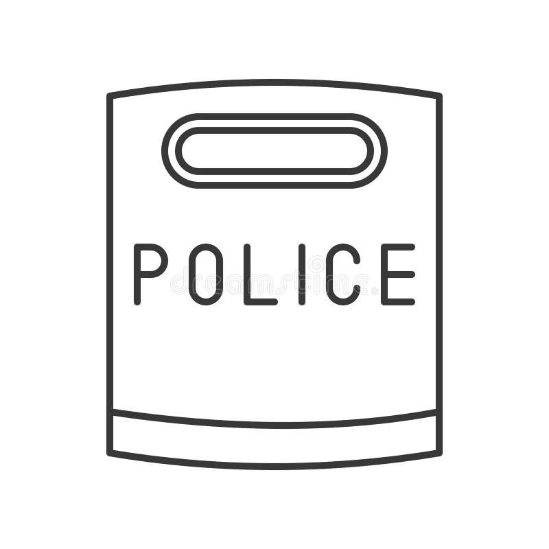 Icono del escudo del alboroto de la policía, esquema editable del movimiento stock de ilustración