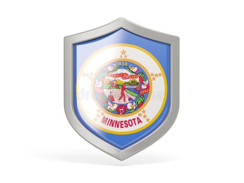 Icono del escudo con la bandera de Minnesota Banderas del local de Estados Unidos libre illustration