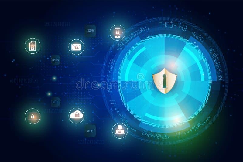 Icono del escudo en el fondo de los datos digitales de la seguridad abstracta de la tecnología y de la red global de la seguridad ilustración del vector