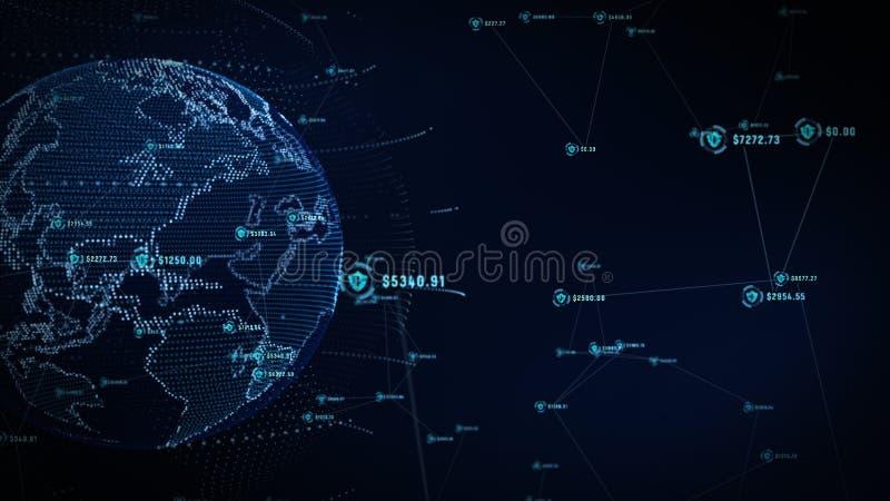 Icono del escudo en red global segura, red de la tecnolog?a y concepto cibern?tico de la seguridad Protecci?n para las conexiones imagen de archivo