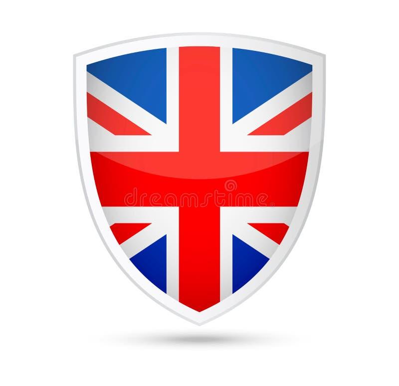 Icono del escudo del vector de la bandera de Reino Unido libre illustration