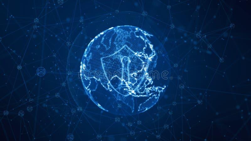 Icono del escudo y del correo electr?nico en la red global segura, concepto cibern?tico de la seguridad Elemento de la tierra equ ilustración del vector