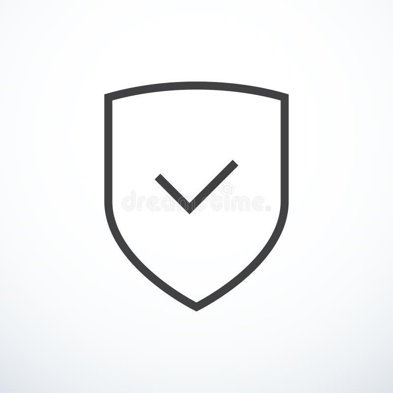 Icono del escudo y de la marca de verificación Icono del escudo y de la señal stock de ilustración
