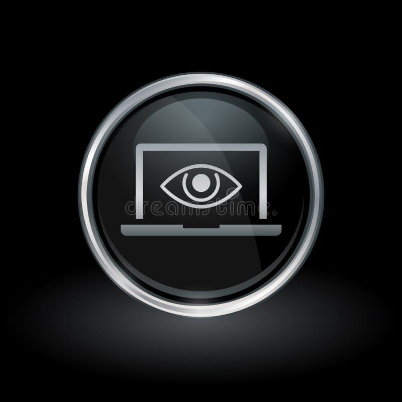 Icono del espía del ojo del ordenador portátil dentro de la plata redonda y del emblema negro ilustración del vector