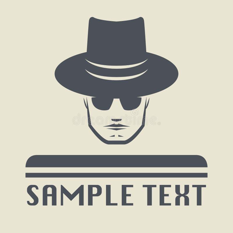 Icono del espía o símbolo de la muestra Hombre en sombrero ilustración del vector