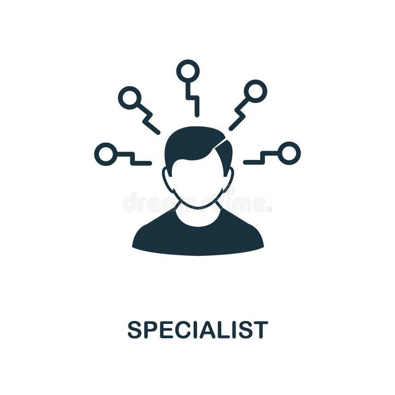 Icono del especialista Diseño monocromático del estilo de la colección del icono de la gestión Ui Icono simple perfecto del espec libre illustration