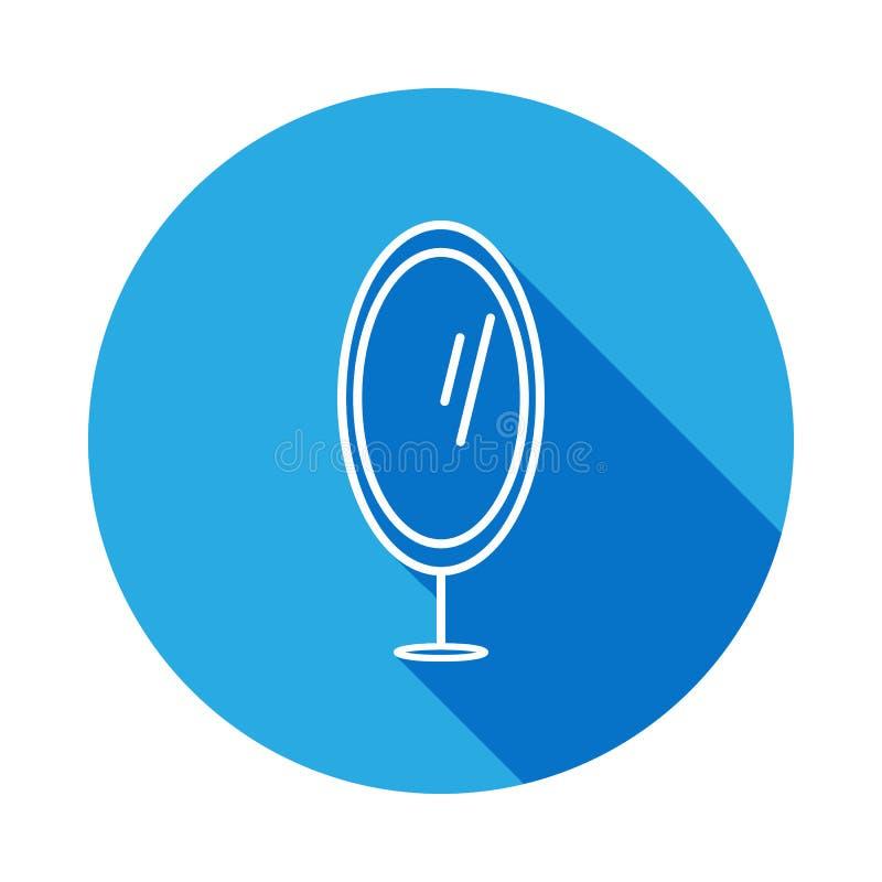 icono del espejo del pie con la sombra Elemento de los muebles para los apps móviles del concepto y del web La línea fina icono p stock de ilustración