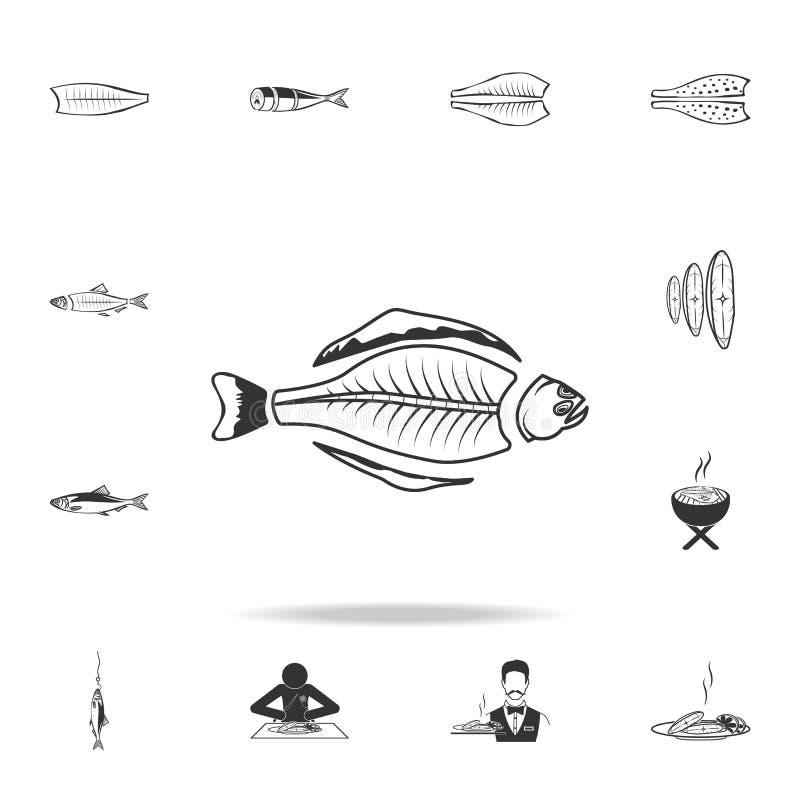 icono del esqueleto del halibut Sistema detallado de ejemplos de los pescados Icono superior del diseño gráfico de la calidad Uno stock de ilustración