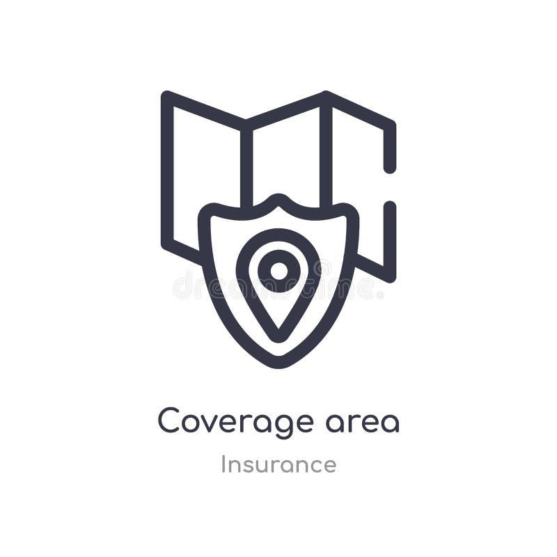 icono del esquema del área de la cobertura l?nea aislada ejemplo del vector de la colecci?n del seguro icono fino editable del ár libre illustration