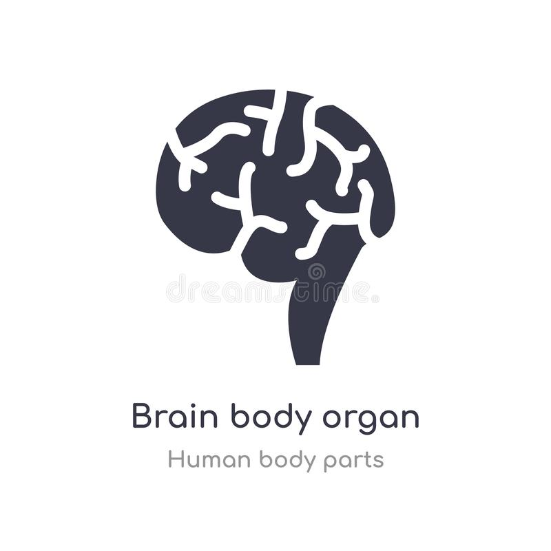 icono del esquema del órgano del cuerpo del cerebro l?nea aislada ejemplo del vector de la colecci?n humana de las partes del cue stock de ilustración
