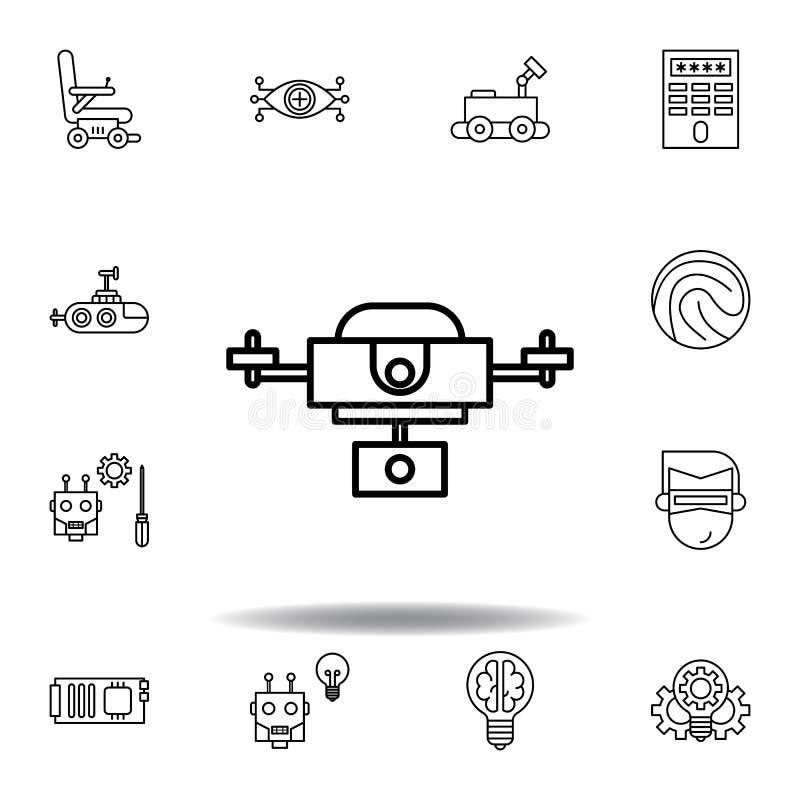 Icono del esquema del abej?n de la rob?tica fije de iconos del ejemplo de la robótica las muestras, símbolos se pueden utilizar p stock de ilustración