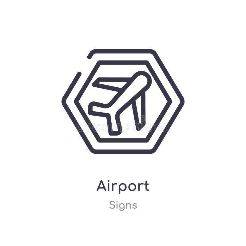 icono del esquema del aeropuerto l?nea aislada ejemplo del vector de la colecci?n de las muestras icono fino editable del aeropue ilustración del vector
