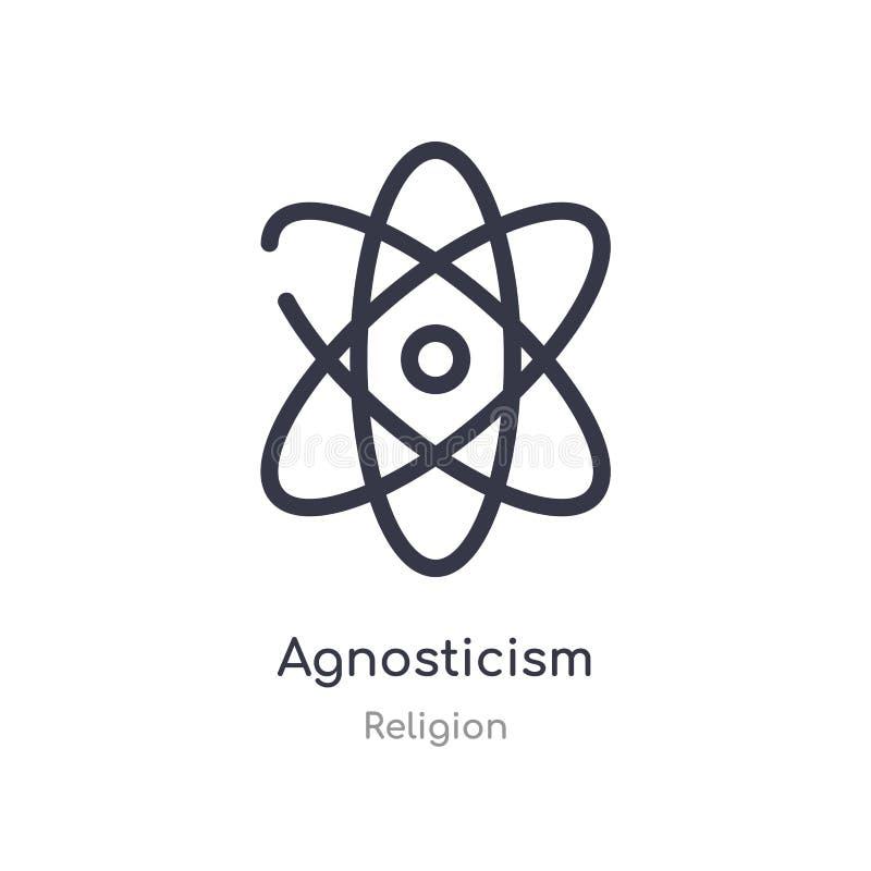 icono del esquema del agnosticismo l?nea aislada ejemplo del vector de la colecci?n de la religi?n icono fino editable del agnost stock de ilustración