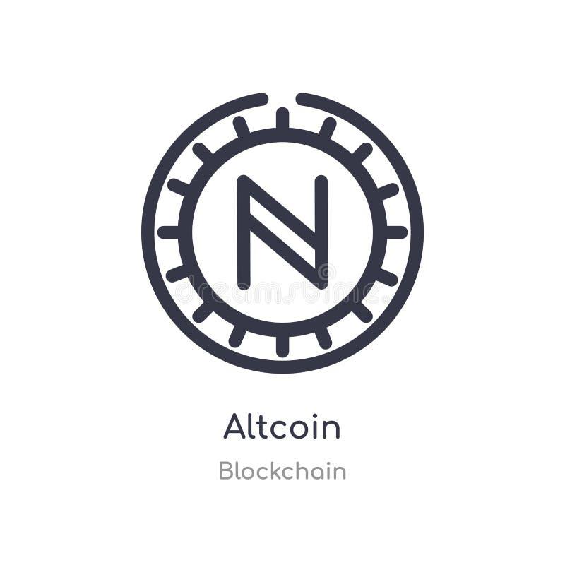 icono del esquema del altcoin l?nea aislada ejemplo del vector de la colecci?n del blockchain icono fino editable del altcoin del ilustración del vector