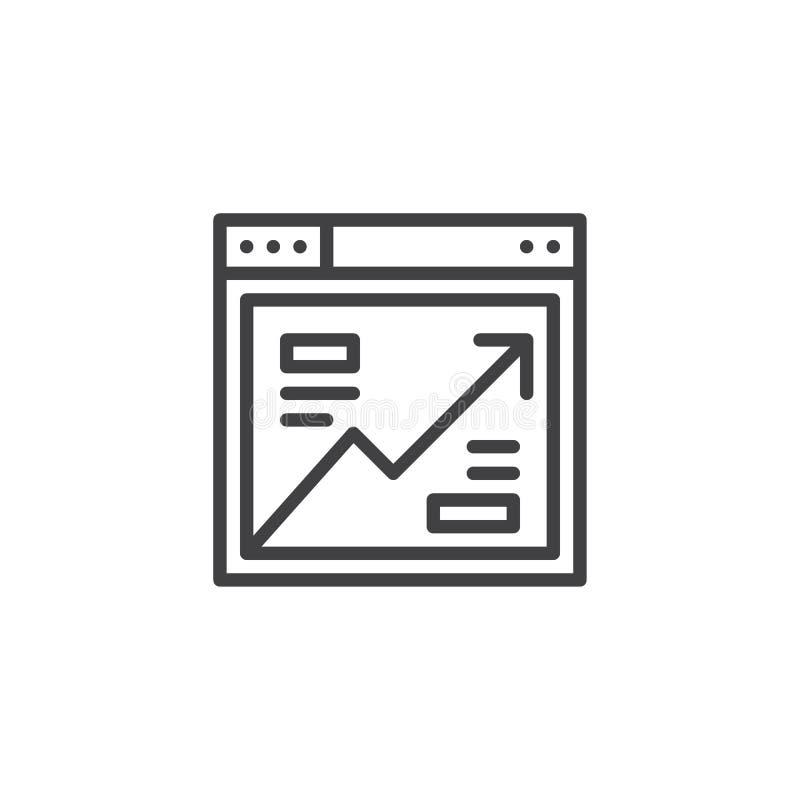 Icono del esquema del analytics del navegador ilustración del vector