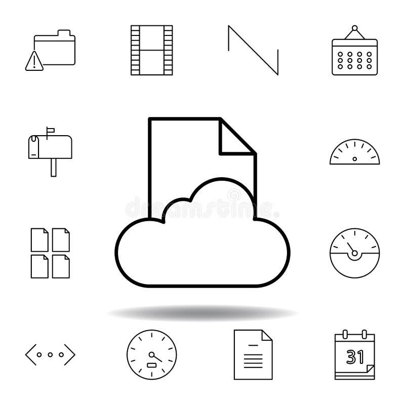Icono del esquema del archivo de datos de la nube Sistema detallado de iconos de los ejemplos de las multimedias del unigrid Pued libre illustration