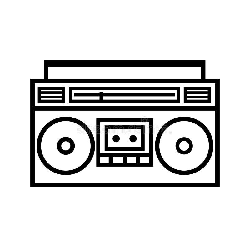 Icono del esquema del arenador del ghetto de Boombox ilustración del vector