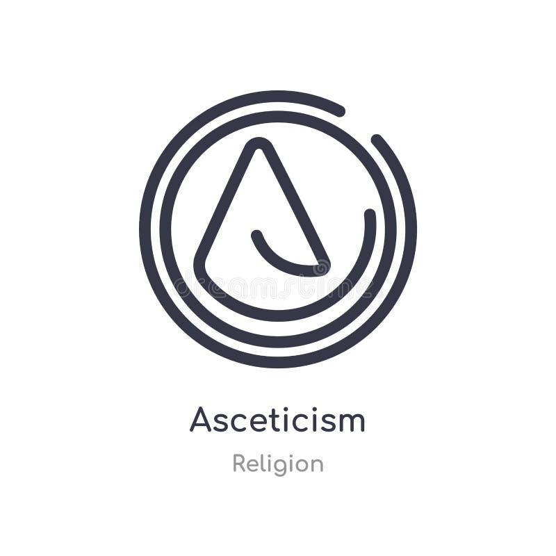 icono del esquema del ascetismo l?nea aislada ejemplo del vector de la colecci?n de la religi?n icono fino editable del ascetismo libre illustration