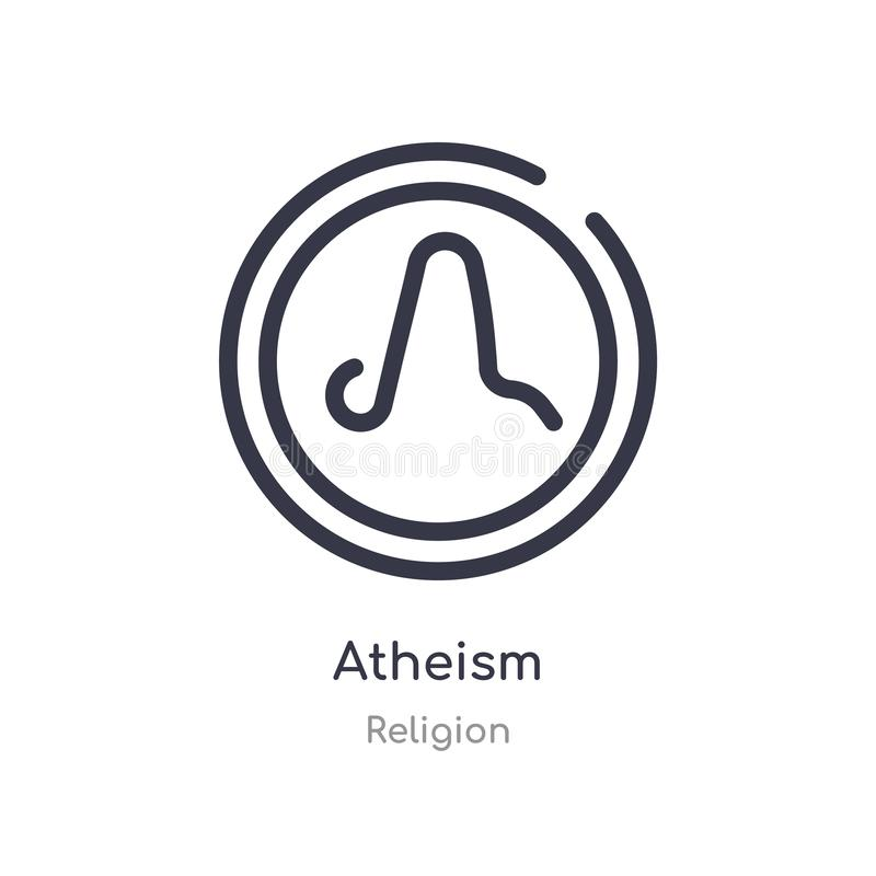 icono del esquema del ateísmo l?nea aislada ejemplo del vector de la colecci?n de la religi?n icono fino editable del ateísmo del stock de ilustración