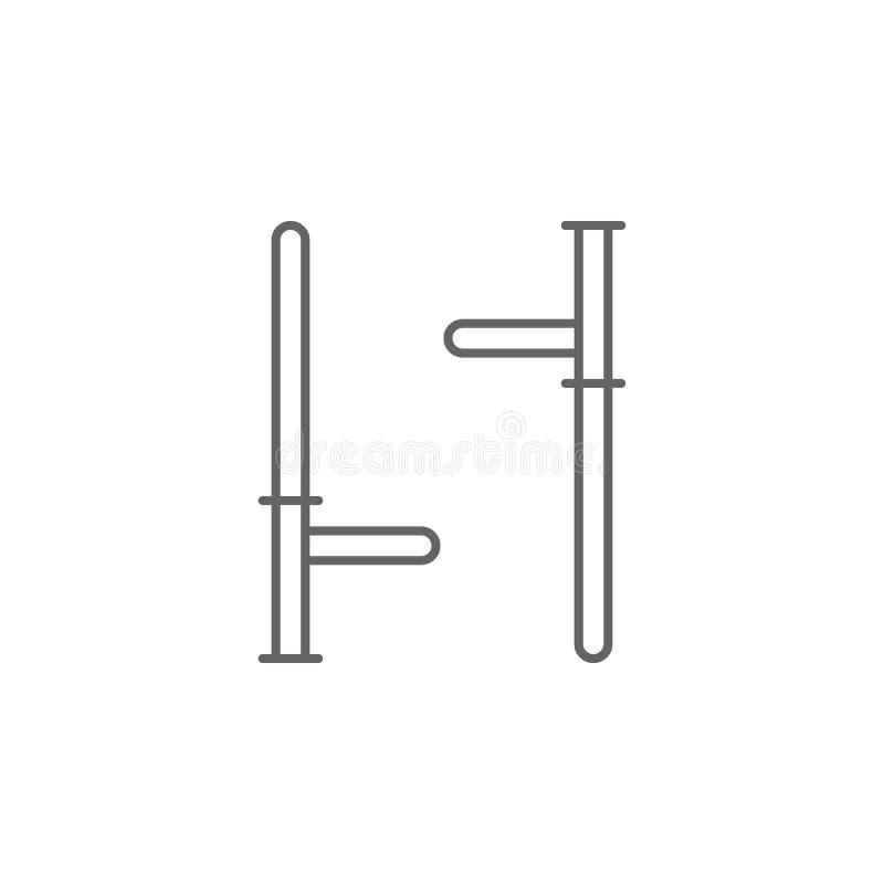 Icono del esquema del bastón de la justicia Elementos de la línea icono del ejemplo de la ley Las muestras, los símbolos y s se p ilustración del vector