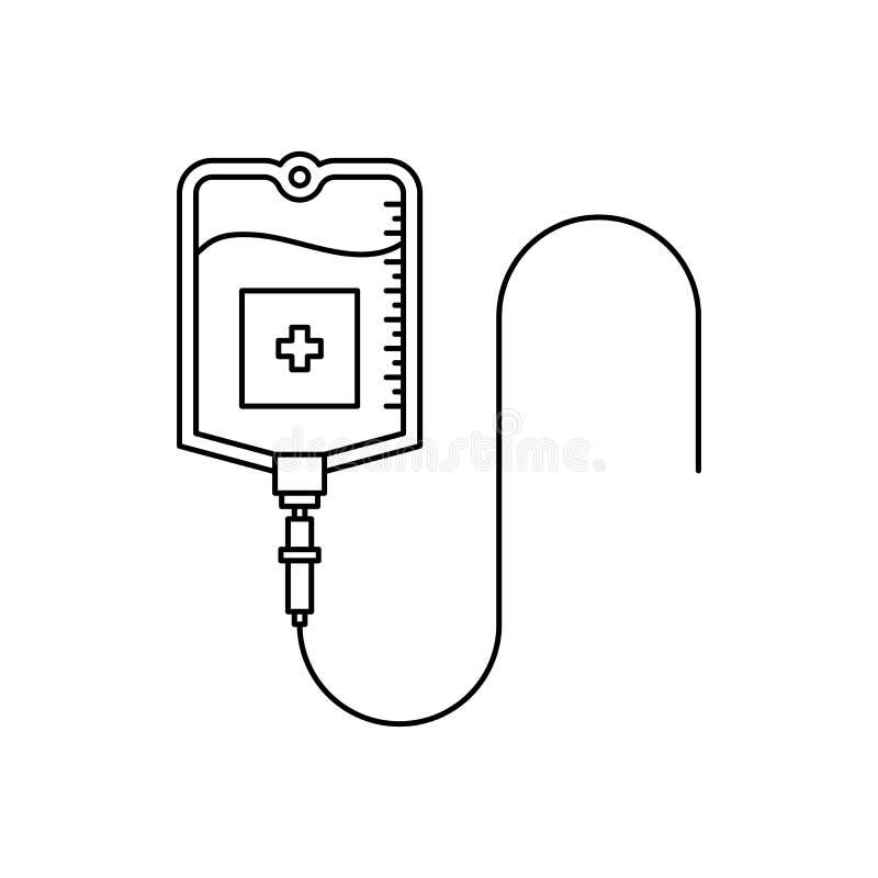 Icono del esquema del bolso de la sangre stock de ilustración