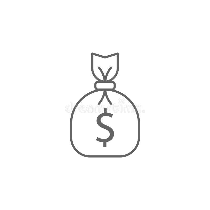 Icono del esquema del bolso del dinero de la justicia Elementos de la línea icono del ejemplo de la ley Las muestras, los símbolo ilustración del vector