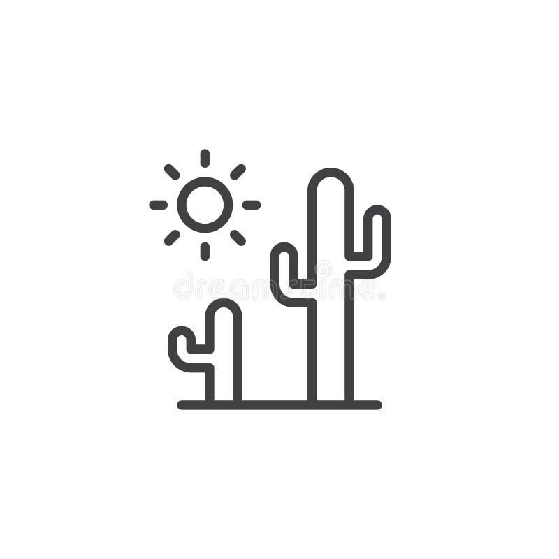 Icono del esquema del cactus y del sol stock de ilustración