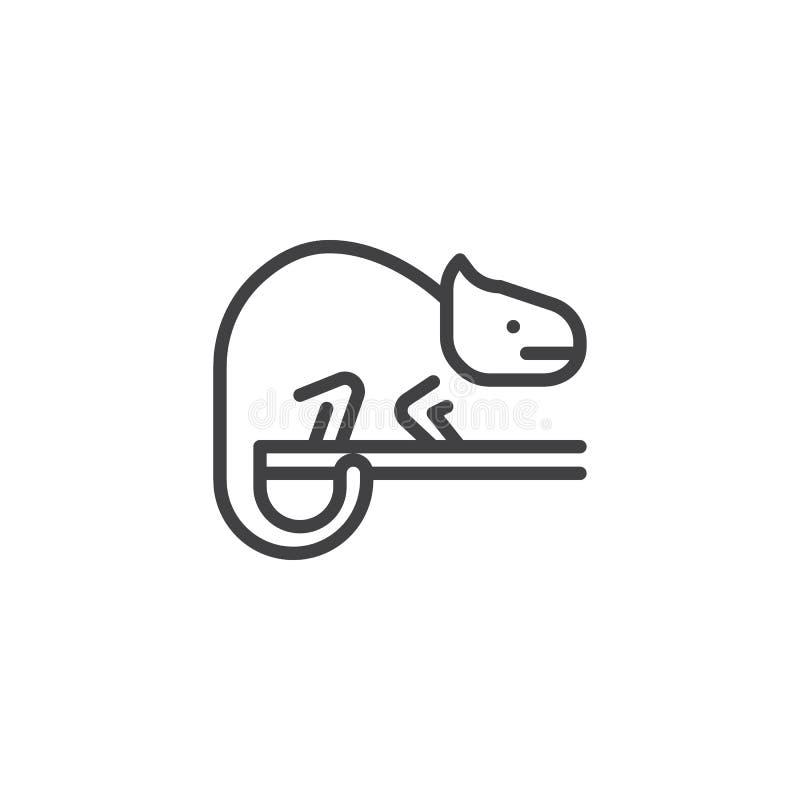 Icono del esquema del camaleón ilustración del vector
