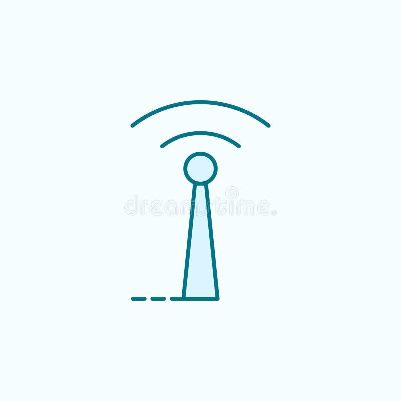 icono del esquema del campo de la antena ilustración del vector
