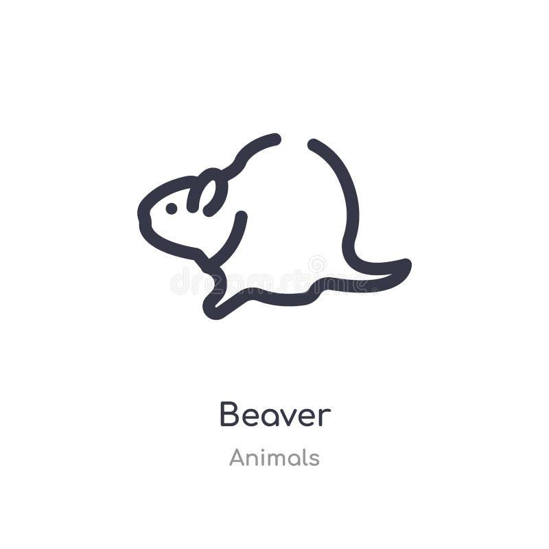 icono del esquema del castor línea aislada ejemplo del vector de la colección de los animales icono fino editable del castor del  libre illustration