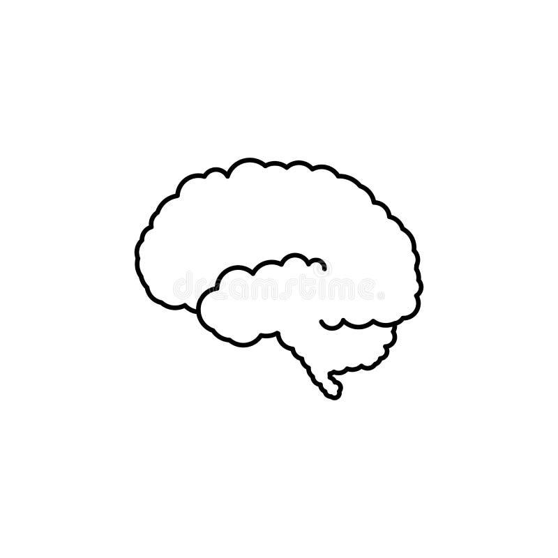 Icono del esquema del cerebro humano stock de ilustración