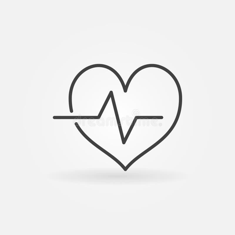 Icono del esquema del ciclo cardiaco Línea símbolo del latido del corazón del vector stock de ilustración