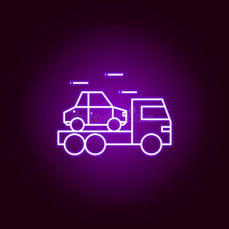 icono del esquema del coche del camión en el estilo de neón Elementos del ejemplo de la reparación del coche en el icono de neón  ilustración del vector