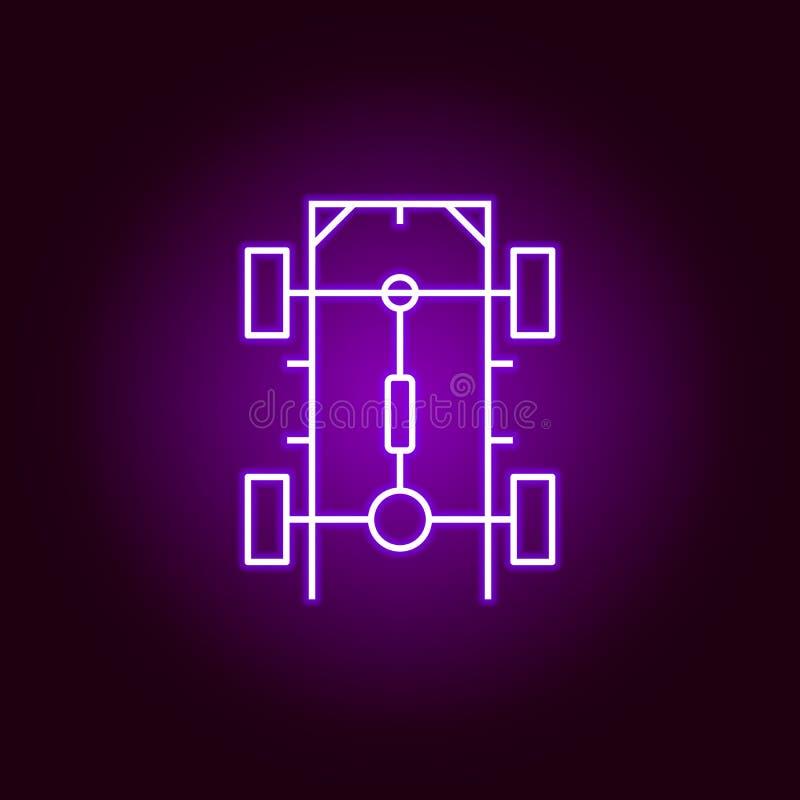 icono del esquema del coche del chasis en el estilo de neón Elementos del ejemplo de la reparación del coche en el icono de neón  stock de ilustración