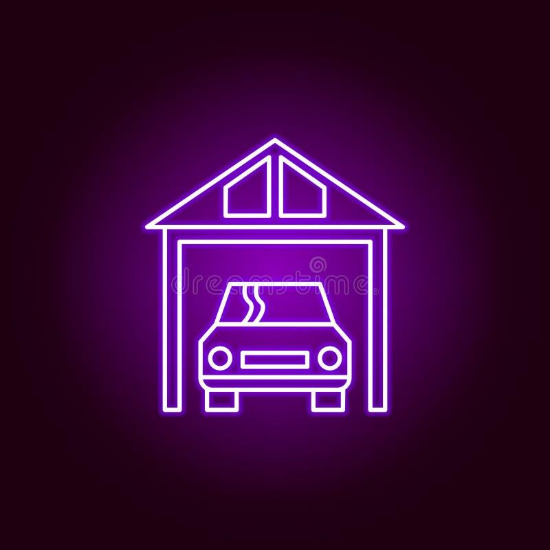 icono del esquema del coche del garaje en el estilo de neón Elementos del ejemplo de la reparación del coche en el icono de neón  ilustración del vector