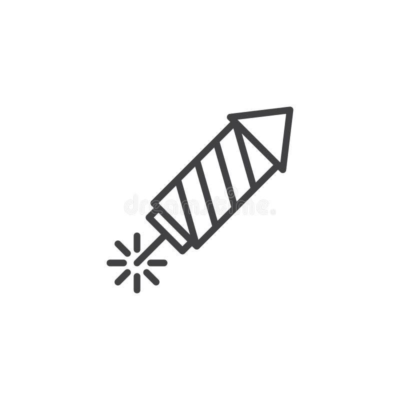 Icono del esquema del cohete de los fuegos artificiales libre illustration