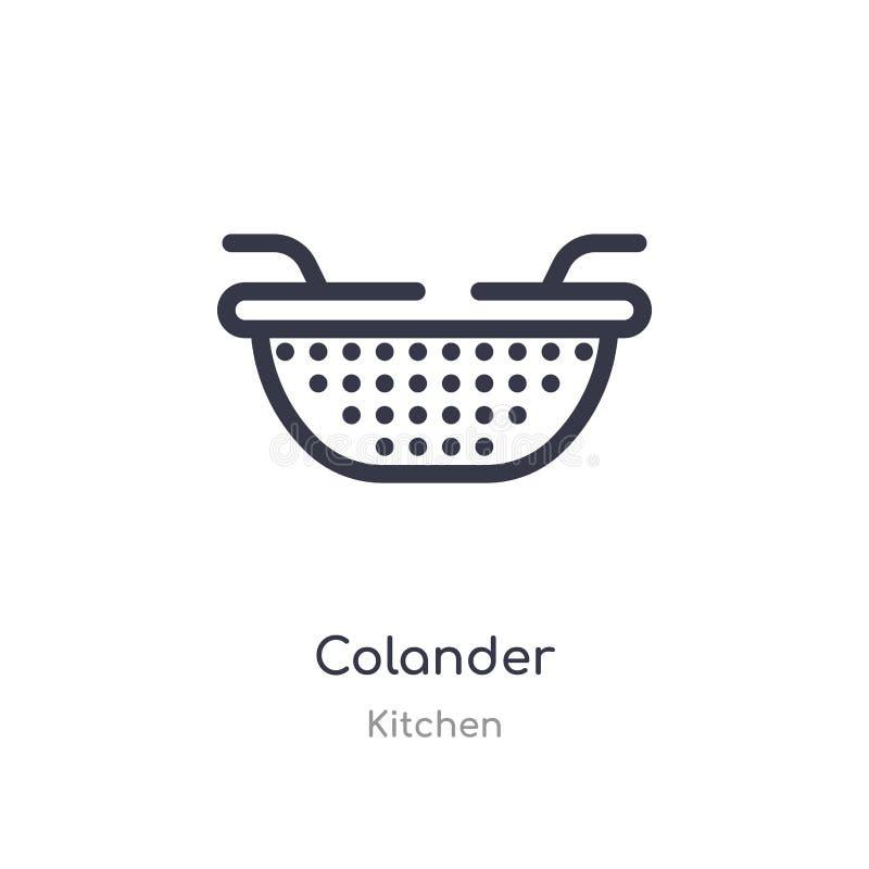 Icono del esquema del colador línea aislada ejemplo del vector de la colección de la cocina icono fino editable del colador del m libre illustration