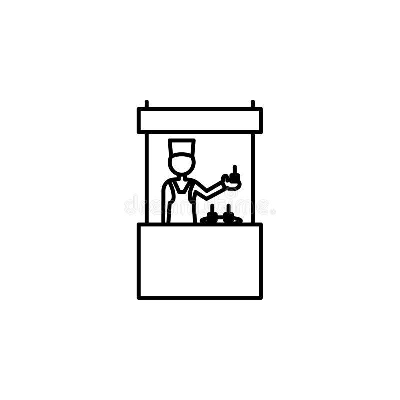icono del esquema del comerciante Elemento del icono de las compras para los apps móviles del concepto y del web La línea fina ic stock de ilustración