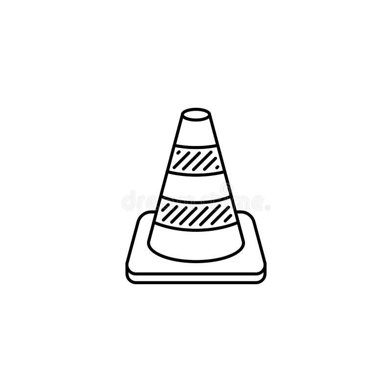 Icono del esquema del cono del tr?fico stock de ilustración