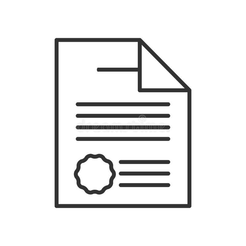 Icono del esquema del contrato o del acuerdo en blanco ilustración del vector