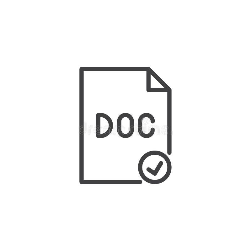 Icono del esquema del control del fichero del doc. ilustración del vector