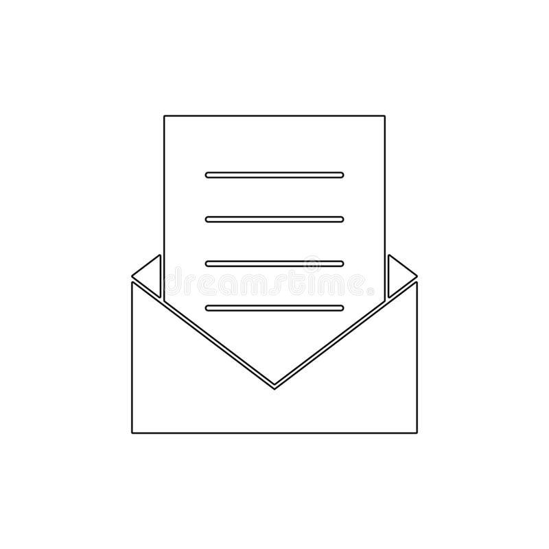 Icono del esquema del correo de letra del buzón de entrada del sobre del correo electrónico Las muestras y los s?mbolos se pueden stock de ilustración