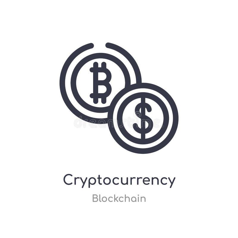 icono del esquema del cryptocurrency l?nea aislada ejemplo del vector de la colecci?n del blockchain cryptocurrency fino editable libre illustration