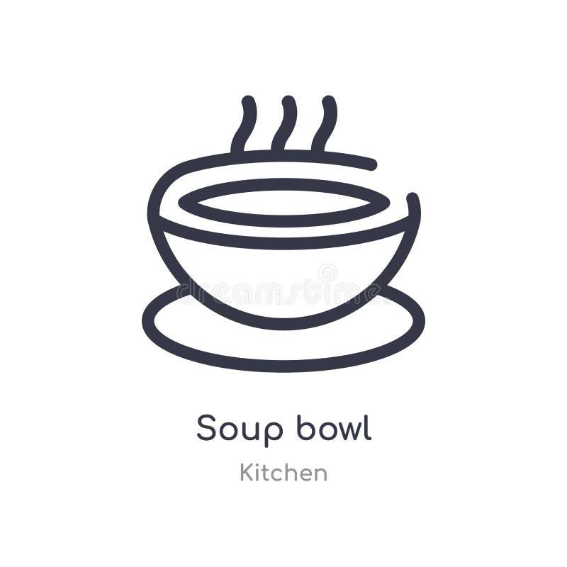 icono del esquema del cuenco de sopa l?nea aislada ejemplo del vector de la colecci?n de la cocina icono fino editable del cuenco stock de ilustración